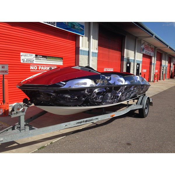 Metallic and Chrome Boat Wrap
