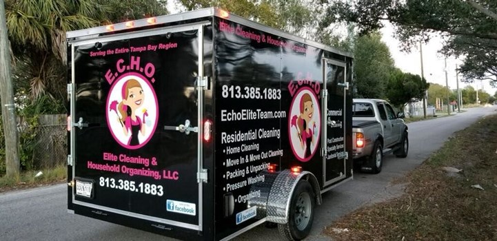 ECHO Elite Cleaning and Household Organization Trailer Lettering