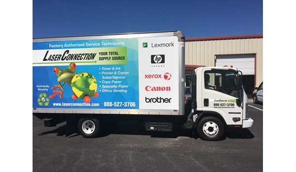 Laser Connection Deliver Box Truck Wrap