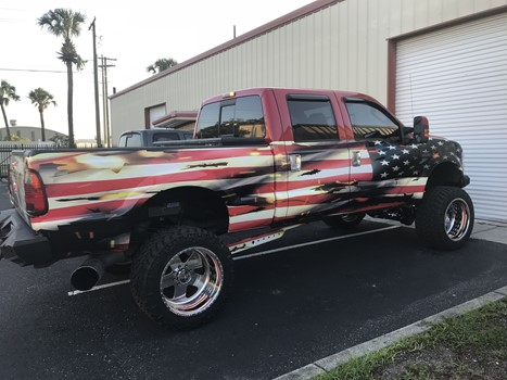 Patriotic Flag Truck Wrap